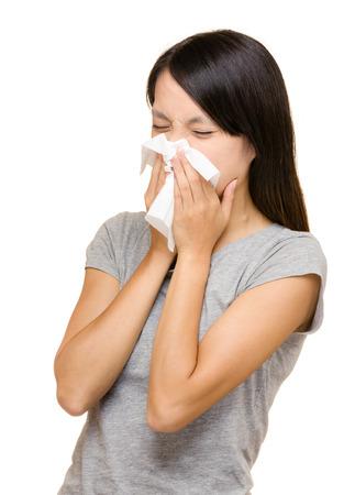 Asian woman nose allergic Stock Photo - 22817854