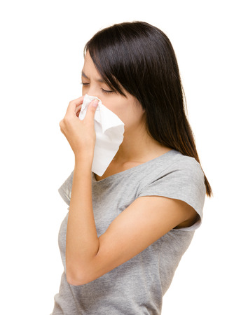 Asian woman nose allergic  photo