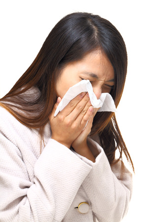 Asian woman nose allergic Stock Photo - 22816558