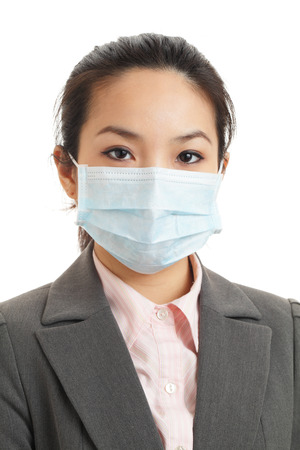 Asian business woman with face mask photo