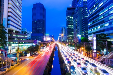 Bangkok met verkeersopstopping Stockfoto