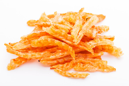 Dried shrimp isolated on whie photo
