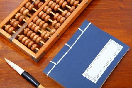 economic revival: chinese book , abacus and writing brush