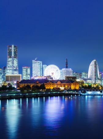 Yokohama skyline at night photo