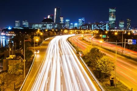 Traffic trail in Seoul city night Stock Photo - 23670477