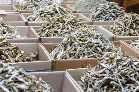 Dried anchovy fish for sell in market photo