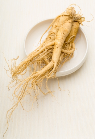 Ginseng on the plate photo