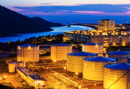 Oil tanks for cargo service at night photo