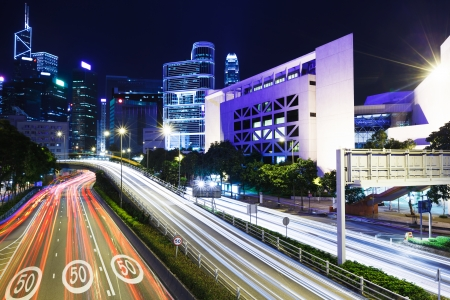 Traffic trail in Hong Kong city at night
