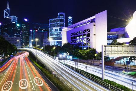 Traffic trail in Hong Kong city at night