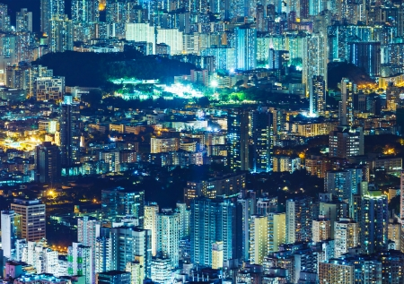Urban city in Hong Kong at night photo