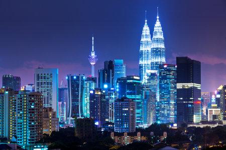 kuala lumpur city: Kuala Lumpur skyline at night