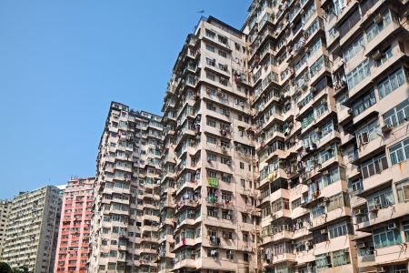 overpopulated: Overcrowded residential building