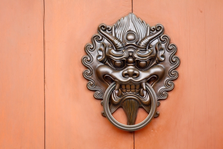 Metallic Lion statue door lock photo