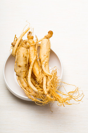 ginseng: Fresh Ginseng on the white bowl Stock Photo
