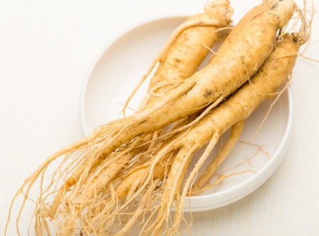Fresh Ginseng in the bowl photo