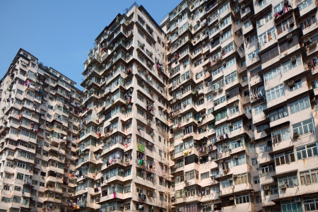 Overcrowded building in Hong Kong Stock Photo - 24075229