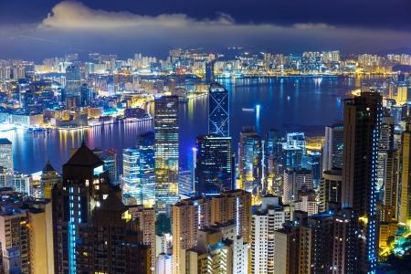 megalopolis: Hong Kong skyline from Peak at mid night