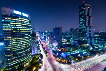 district in Seoul at night photo