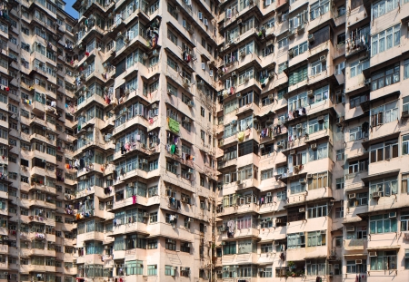 overcrowded: Overcrowded residential building in Hong Kong Editorial