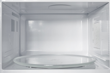 microwave oven: Inside of the microwave oven