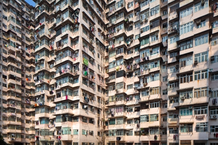 Overcrowded residential building in Hong Kong photo