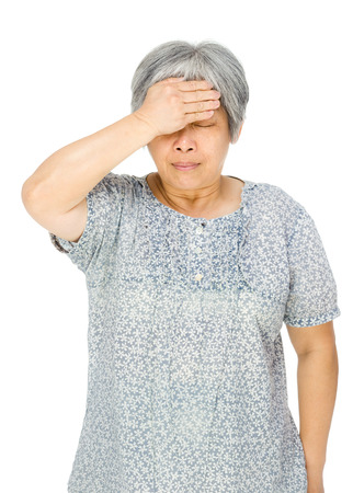 Senior asian woman feel sick photo