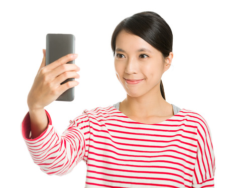 photographing: Asian girl selfie Stock Photo