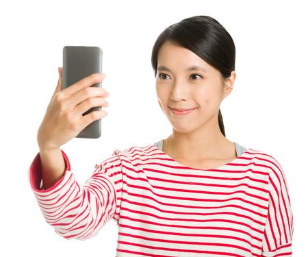 self portrait: Asian girl selfie Stock Photo
