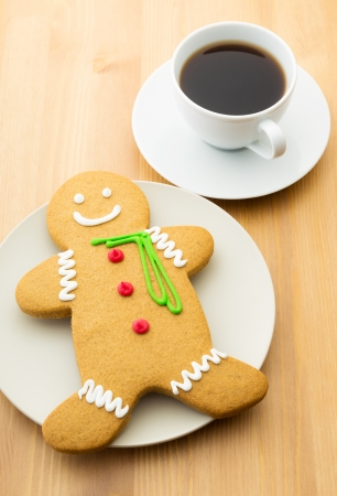 Gingerbread men and coffee Stock Photo - 24399898