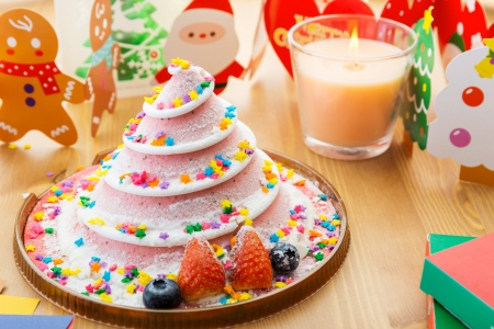 Christmas cake and decoration photo