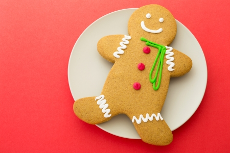 Gingerbread on red background photo