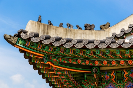 Traditional korean architecture roof eaves photo