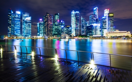 Singapore city at night photo