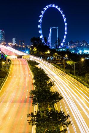 singapore city: Singapore city at night Editorial