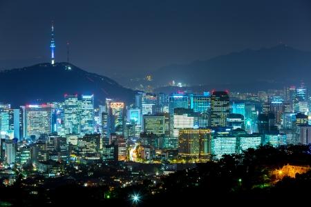 schlagbaum: Seoul Stadt bei Nacht Lizenzfreie Bilder