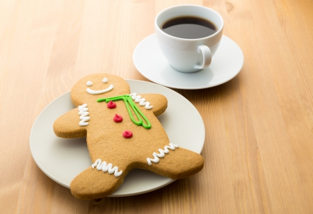 Gingerbread cookie and coffee  photo