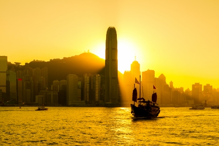 Silhouette of Hong Kong city photo