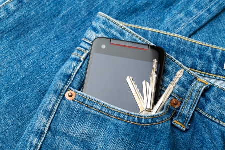 Jean pocket with mobile and key photo