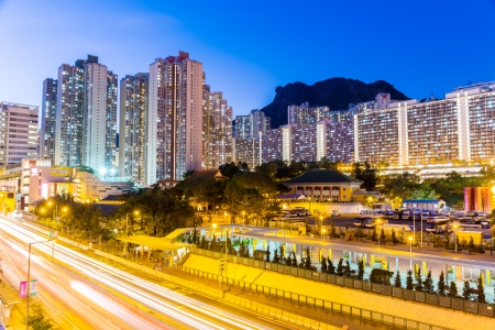 Kowloon residential district in Hong Kong at night photo