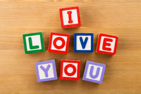 i kids: I Love You toy block Stock Photo