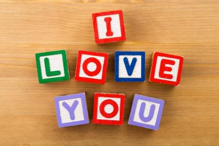 te quiero: Te Amo bloques del juguete Foto de archivo