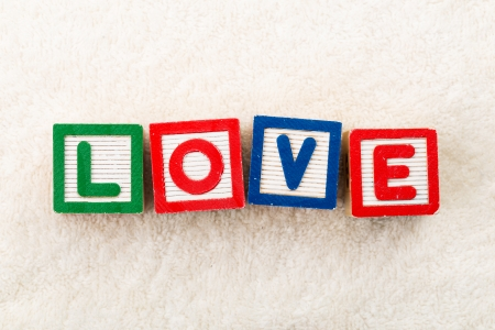 Love wooden toy block photo