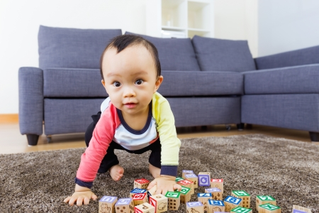 hunker: Little boy ready to jump Stock Photo