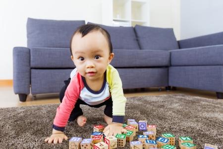 hunker: Little boy ready to jump Stock Photo