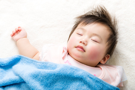 Asian baby sleeping Stock Photo