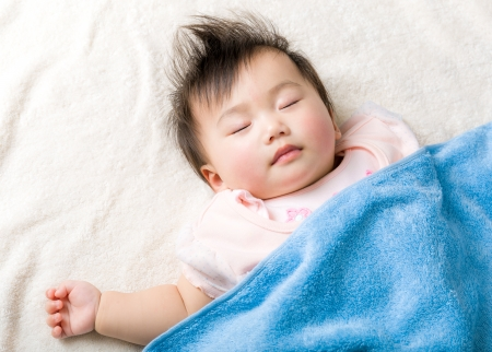 Asian baby girl sleeping on the towel photo
