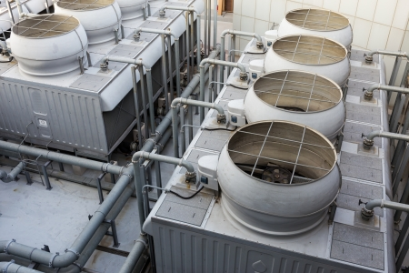 Ventilation systems on roof top Stock Photo