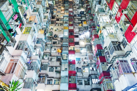 Overcrowded building in Hong Kong photo