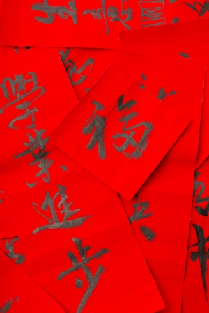 Chinese style coulpet for lunar new year photo